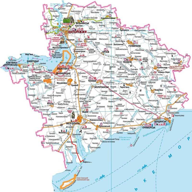 Карта Бердянска